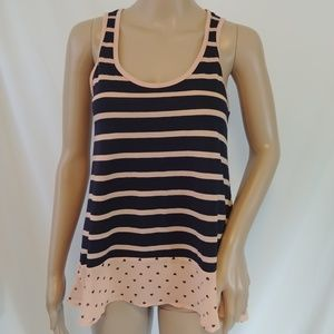 Maison Jules Sleeveless Top Size Small Blue & Pink
